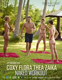 Coxy Flora Thea Zaika entrenamiento al desnudo
