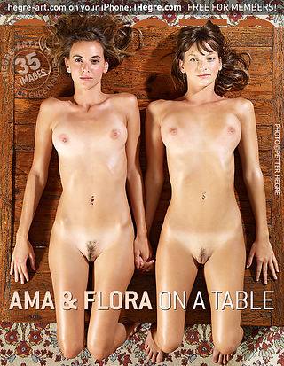 Ama and Flora on a table