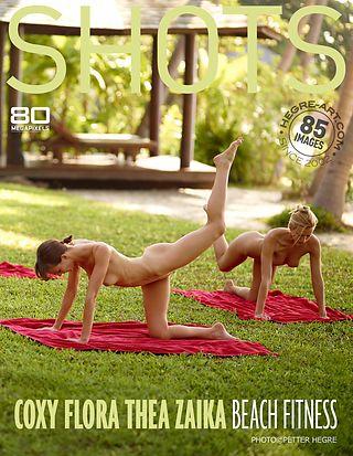 Coxy Flora Thea Zaika fitness en la playa