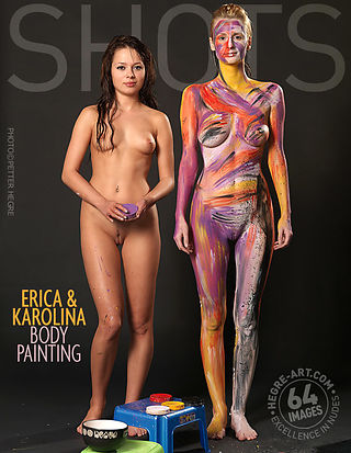 Erica and Karolina body painting