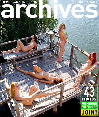 Five naked girls on a pier