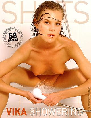 Vika showering