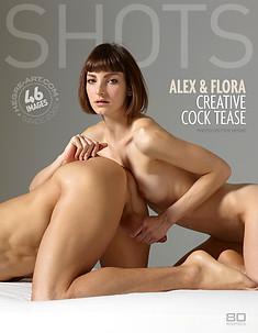Alex y Flora creativo coqueteo con la polla