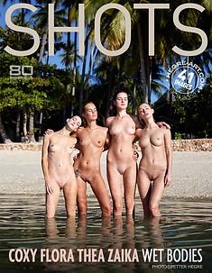 コクシー、フロラ、シーア、ザイカ 濡れた体