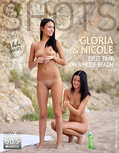 Gloria and Nicole first time on a nude beach
