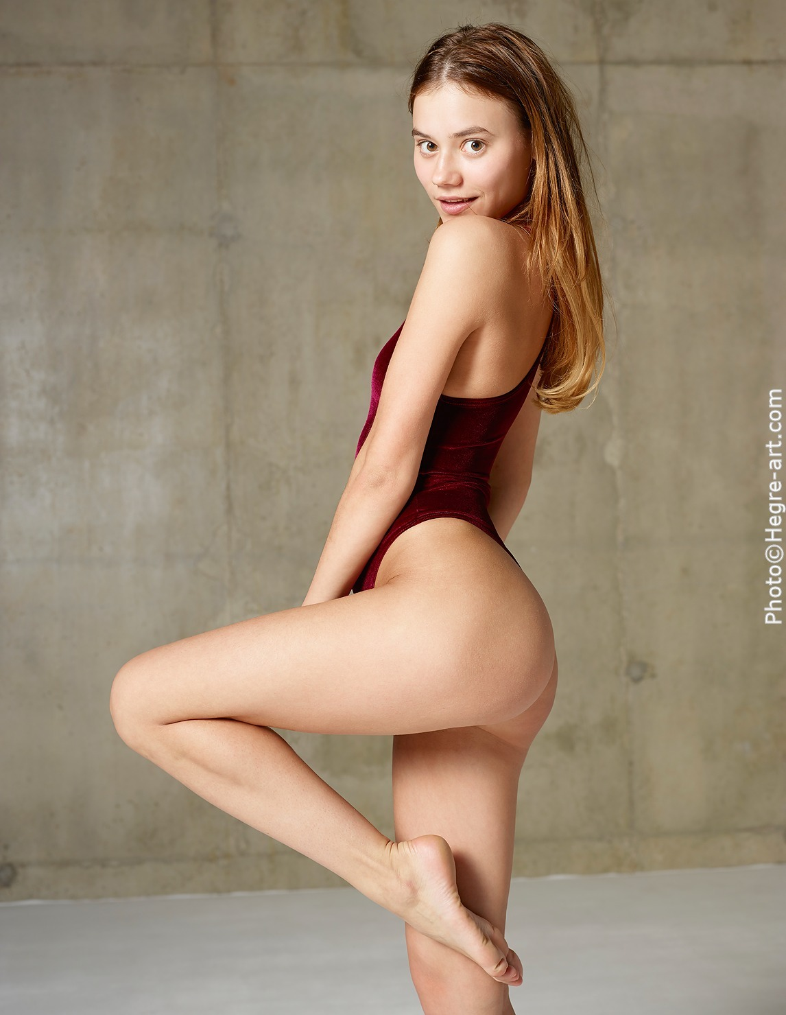 Young nude art model thong