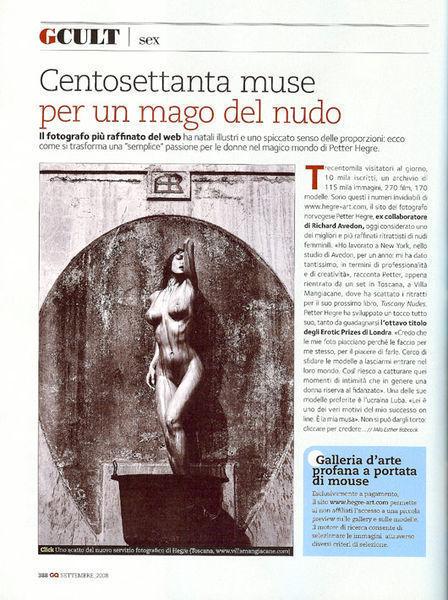 Hegre-Art en la edición italiana de la Revista GQ